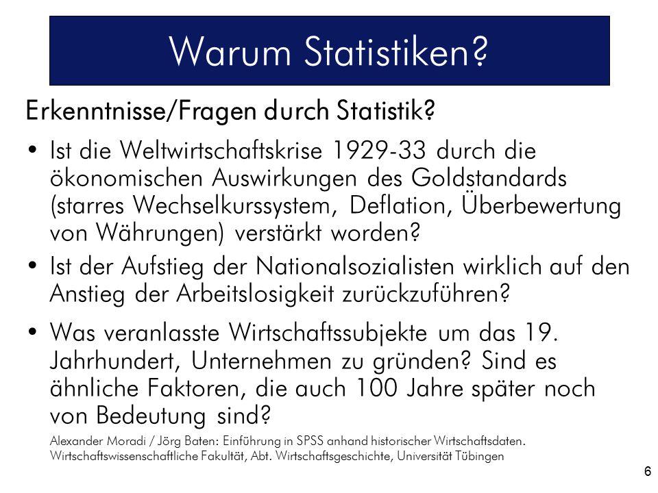 Warum Statistiken Erkenntnisse/Fragen durch Statistik