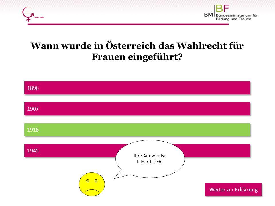 Wann wurde in Österreich das Wahlrecht für Frauen eingeführt