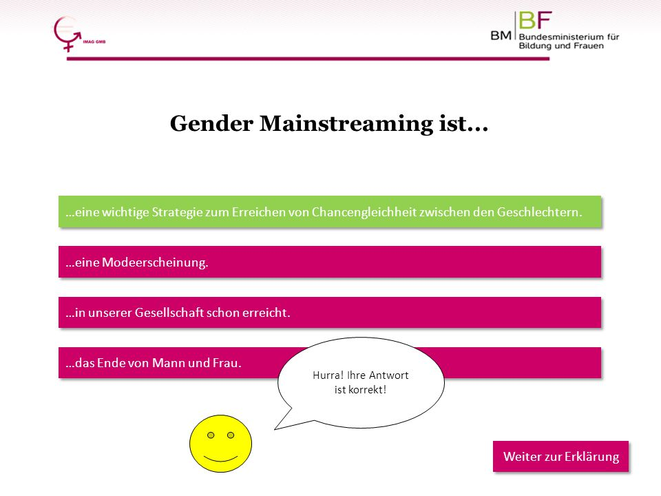 Gender Mainstreaming ist...