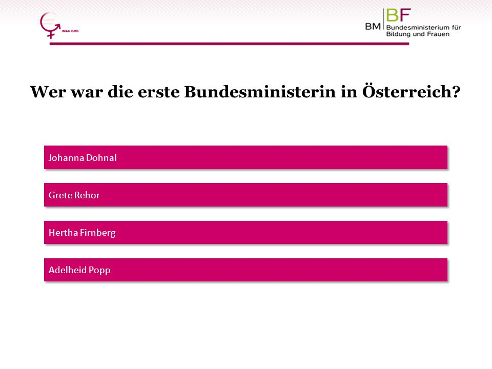 Wer war die erste Bundesministerin in Österreich