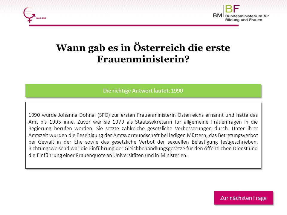 Wann gab es in Österreich die erste Frauenministerin