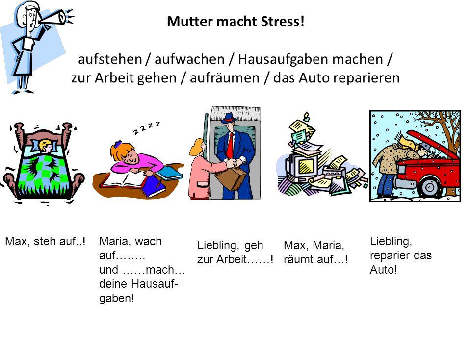 Mutter macht Stress! aufstehen / aufwachen / Hausaufgaben machen / zur Arbeit gehen / aufräumen / das Auto reparieren