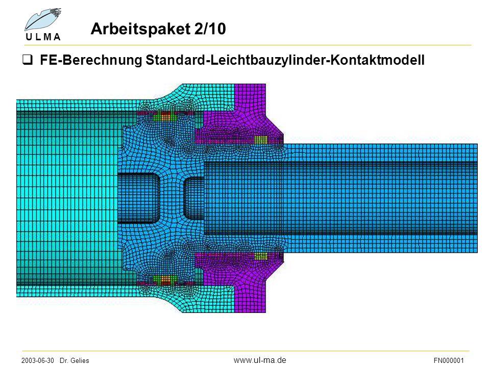 Arbeitspaket 2/10 FE-Berechnung Standard-Leichtbauzylinder-Kontaktmodell