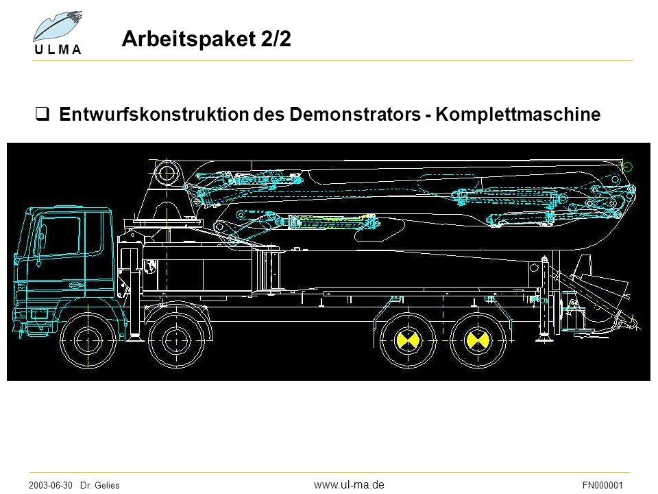 Arbeitspaket 2/2 Entwurfskonstruktion des Demonstrators - Komplettmaschine