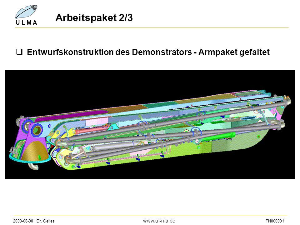 Arbeitspaket 2/3 Entwurfskonstruktion des Demonstrators - Armpaket gefaltet