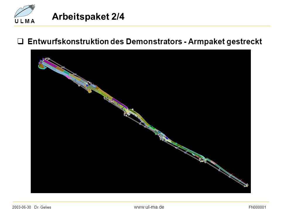 Arbeitspaket 2/4 Entwurfskonstruktion des Demonstrators - Armpaket gestreckt
