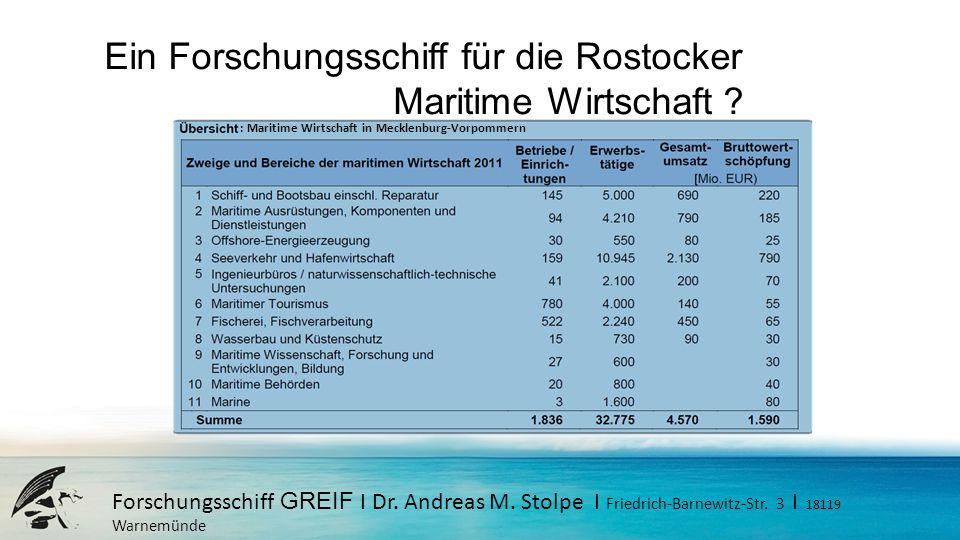 Ein Forschungsschiff für die Rostocker Maritime Wirtschaft