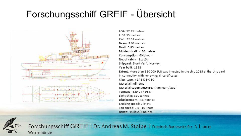 Forschungsschiff GREIF - Übersicht