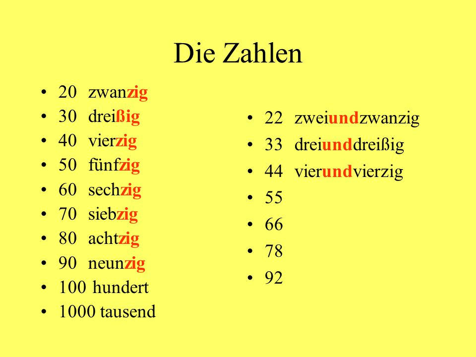 Die Zahlen 20 zwanzig 30 dreißig 40 vierzig 22 zweiundzwanzig