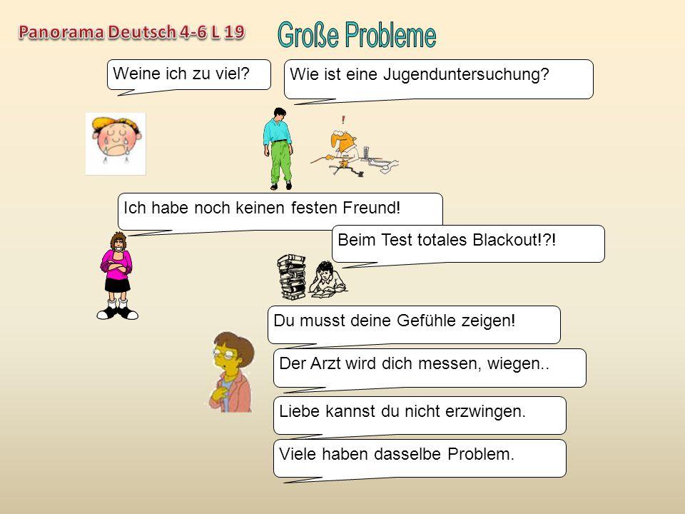 Große Probleme Panorama Deutsch 4-6 L 19 Weine ich zu viel