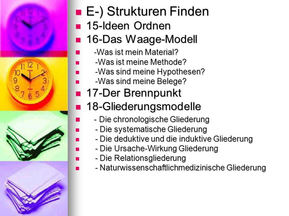 E-) Strukturen Finden 15-Ideen Ordnen 16-Das Waage-Modell
