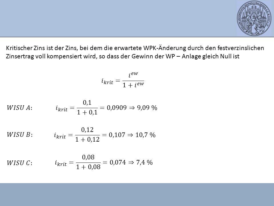 Kritischer Zins ist der Zins, bei dem die erwartete WPK-Änderung durch den festverzinslichen Zinsertrag voll kompensiert wird, so dass der Gewinn der WP – Anlage gleich Null ist