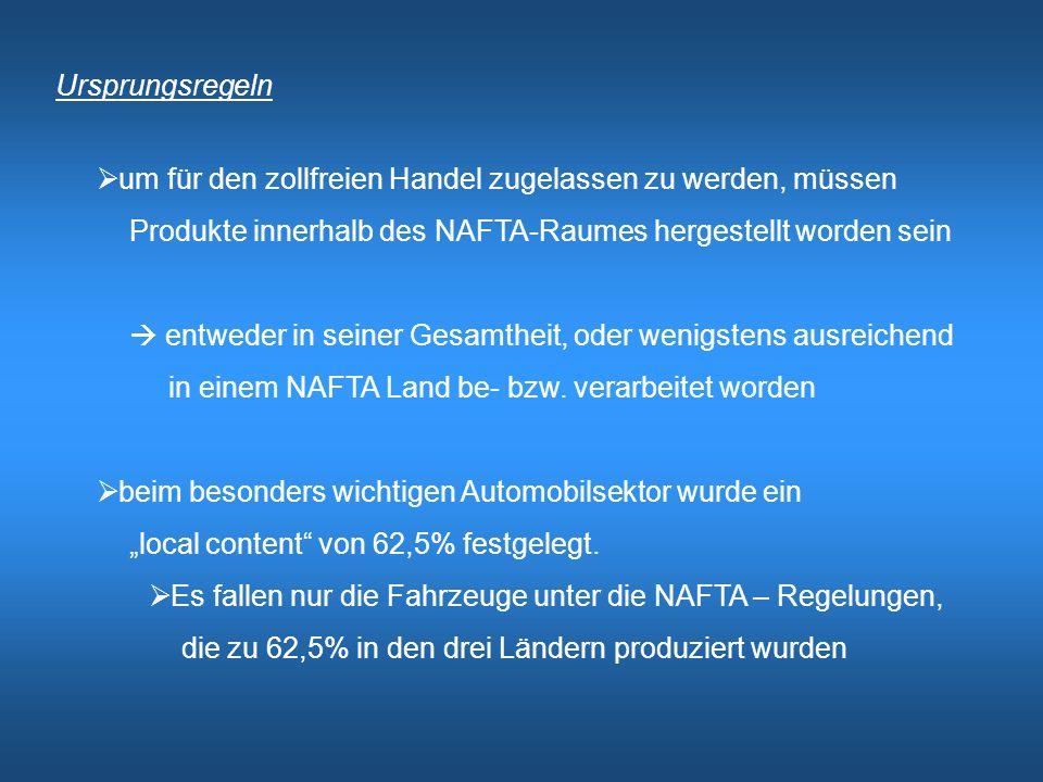 Ursprungsregeln um für den zollfreien Handel zugelassen zu werden, müssen. Produkte innerhalb des NAFTA-Raumes hergestellt worden sein.