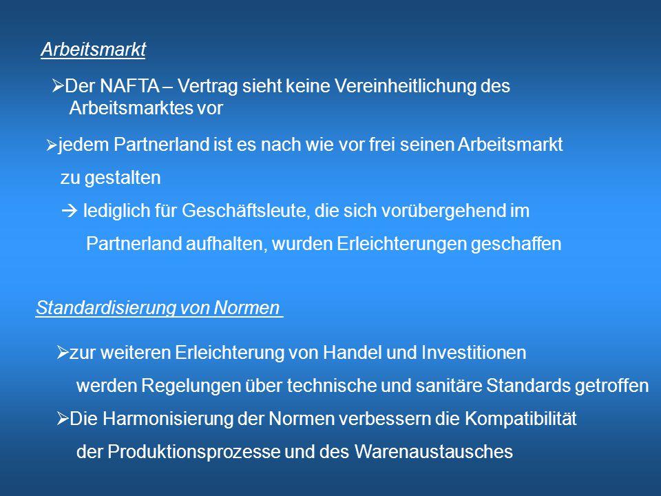 Der NAFTA – Vertrag sieht keine Vereinheitlichung des