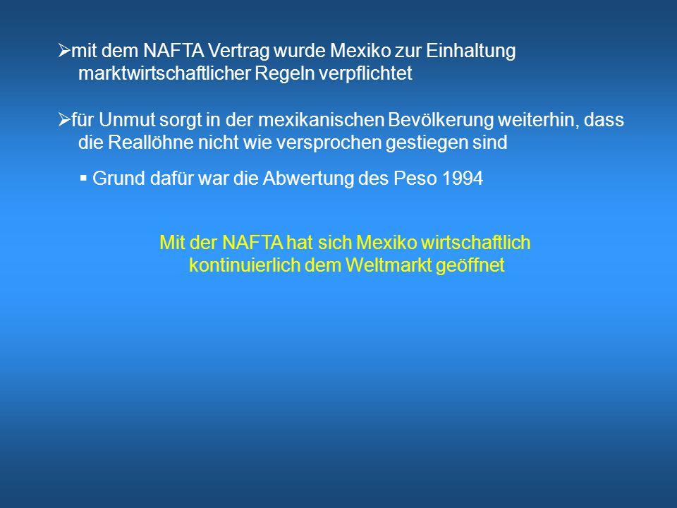 mit dem NAFTA Vertrag wurde Mexiko zur Einhaltung