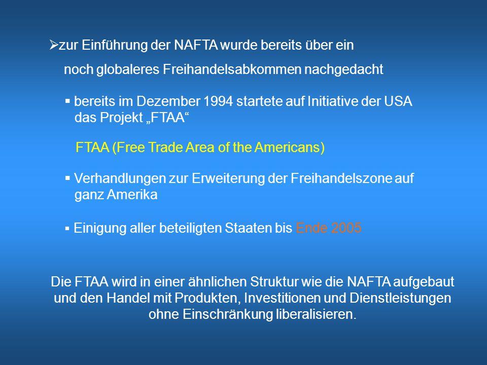 zur Einführung der NAFTA wurde bereits über ein