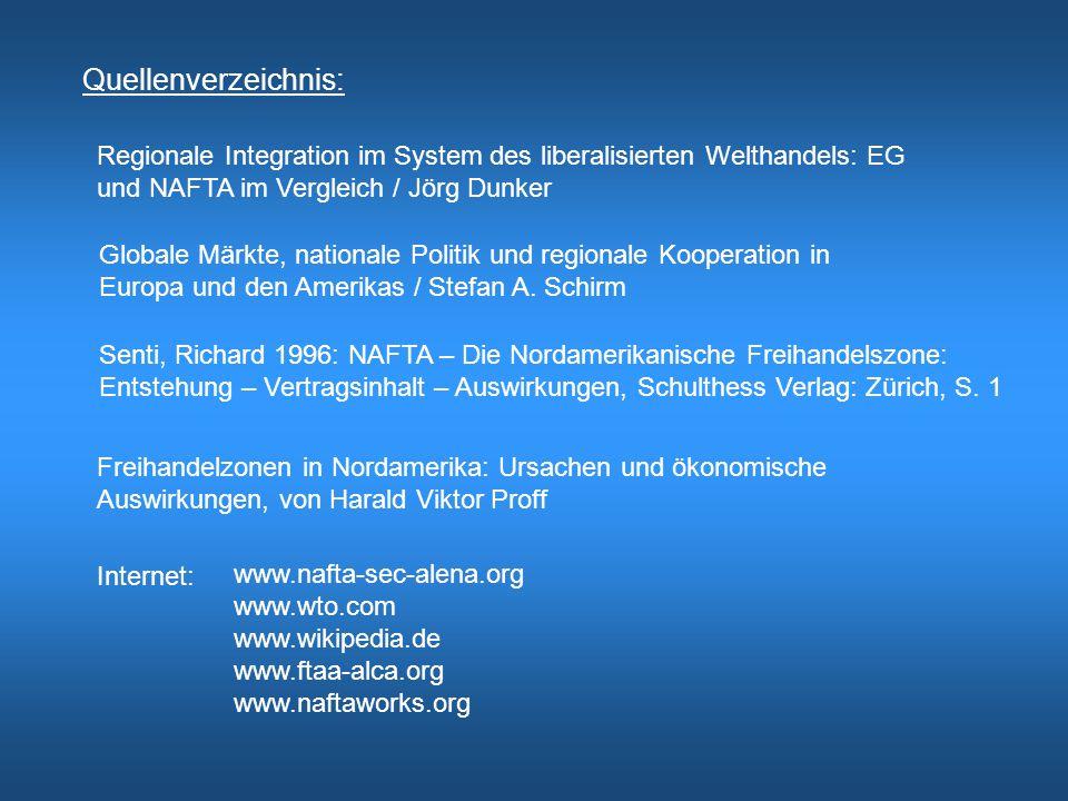 Quellenverzeichnis: Regionale Integration im System des liberalisierten Welthandels: EG. und NAFTA im Vergleich / Jörg Dunker.