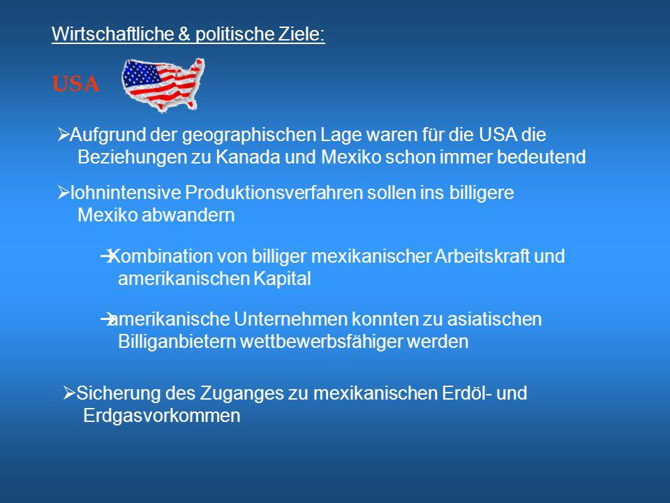 USA Wirtschaftliche & politische Ziele: