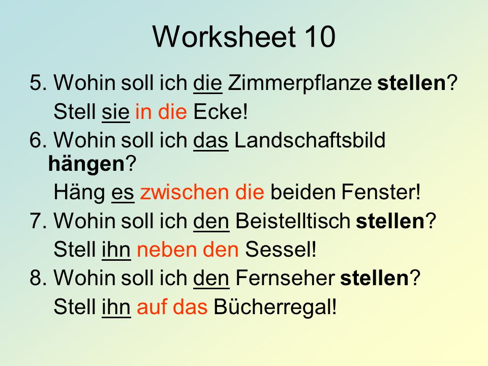 Worksheet 10 5. Wohin soll ich die Zimmerpflanze stellen