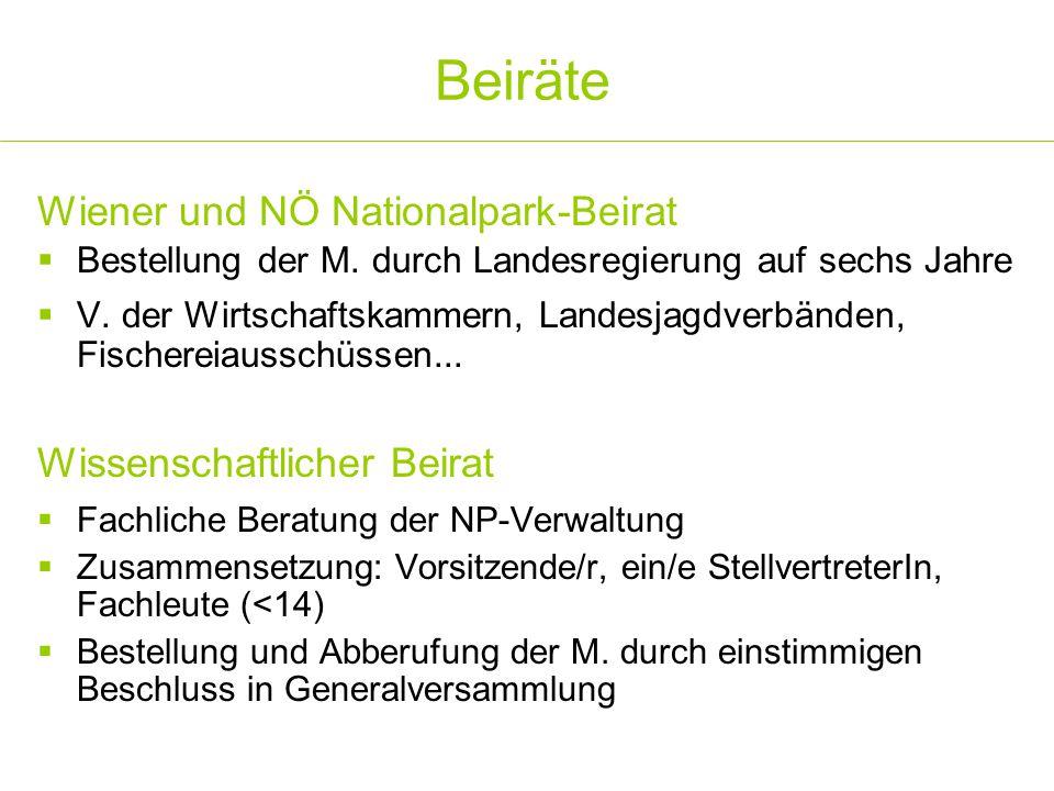Beiräte Wiener und NÖ Nationalpark-Beirat Wissenschaftlicher Beirat