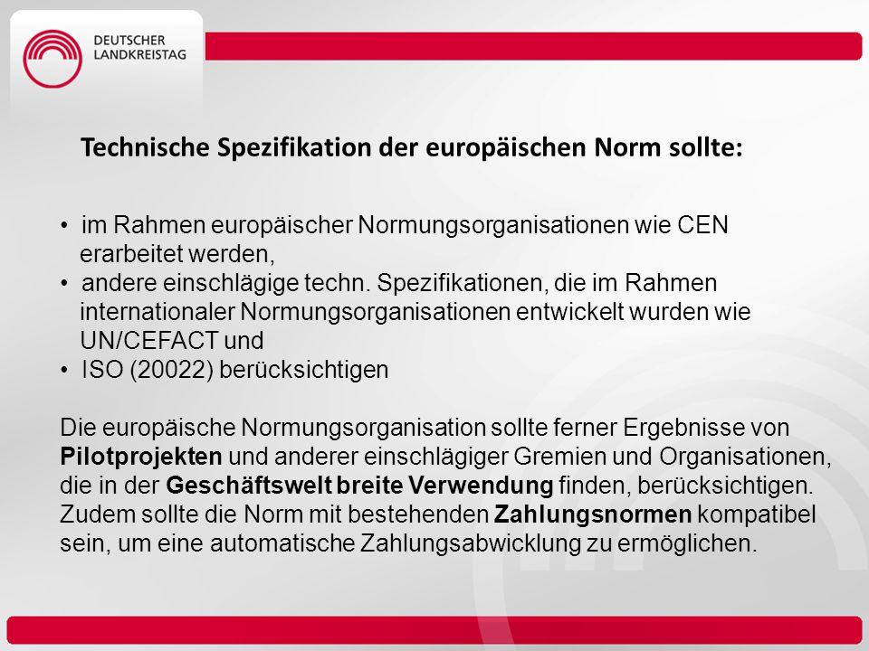 Technische Spezifikation der europäischen Norm sollte: