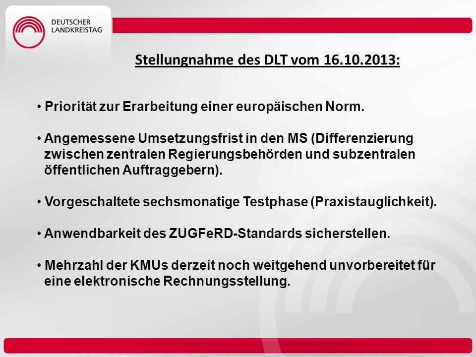 Stellungnahme des DLT vom 16.10.2013: