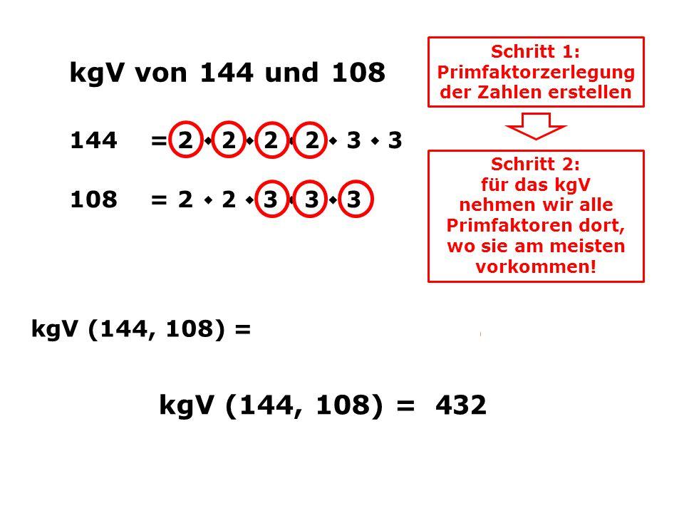 Schritt 1: Primfaktorzerlegung der Zahlen erstellen