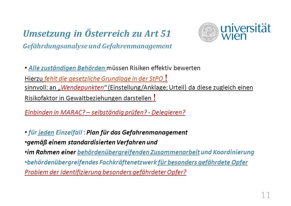 Umsetzung in Österreich zu Art 51 Gefährdungsanalyse und Gefahrenmanagement