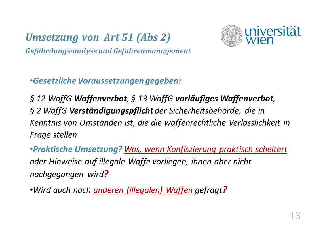 Umsetzung von Art 51 (Abs 2) Gefährdungsanalyse und Gefahrenmanagement
