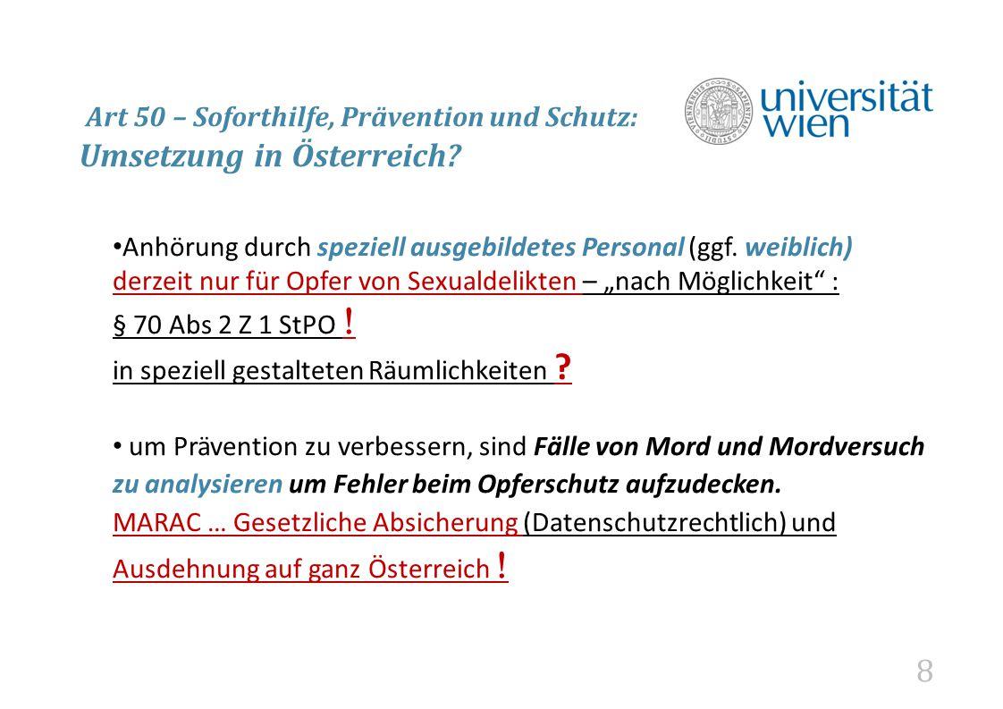 Art 50 – Soforthilfe, Prävention und Schutz: Umsetzung in Österreich