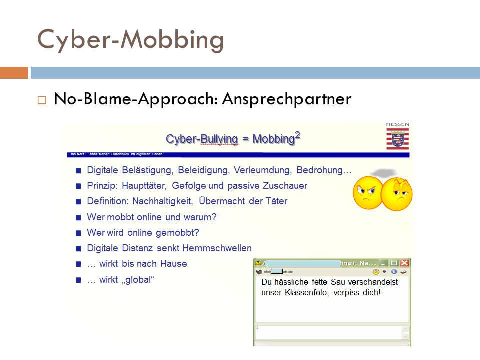 Cyber-Mobbing No-Blame-Approach: Ansprechpartner
