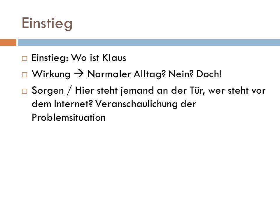 Einstieg Einstieg: Wo ist Klaus Wirkung  Normaler Alltag Nein Doch!