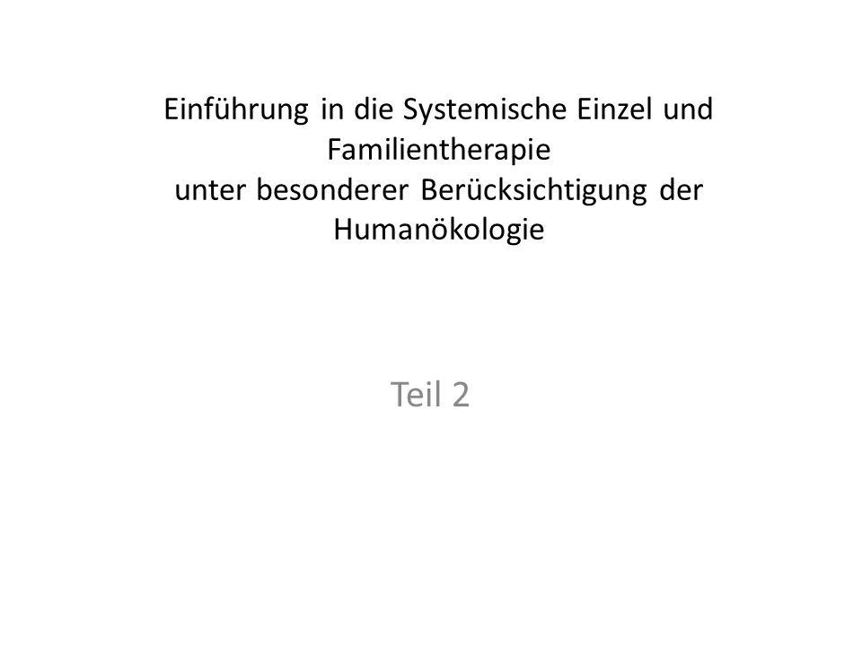 Einführung in die Systemische Einzel und Familientherapie unter besonderer Berücksichtigung der Humanökologie