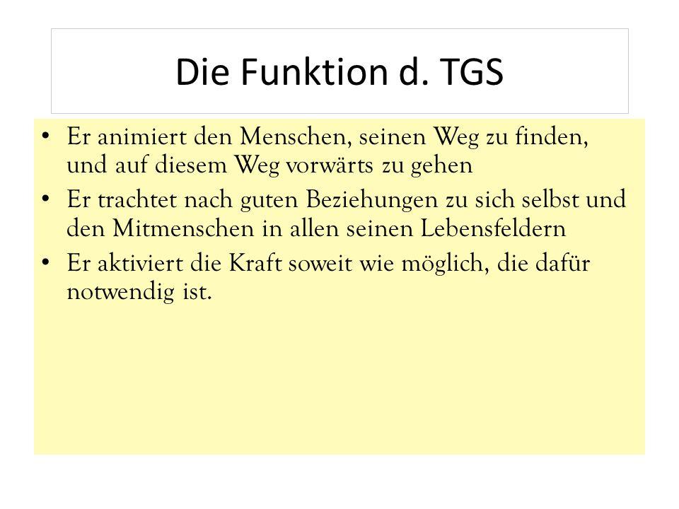 Die Funktion d. TGS Er animiert den Menschen, seinen Weg zu finden, und auf diesem Weg vorwärts zu gehen.