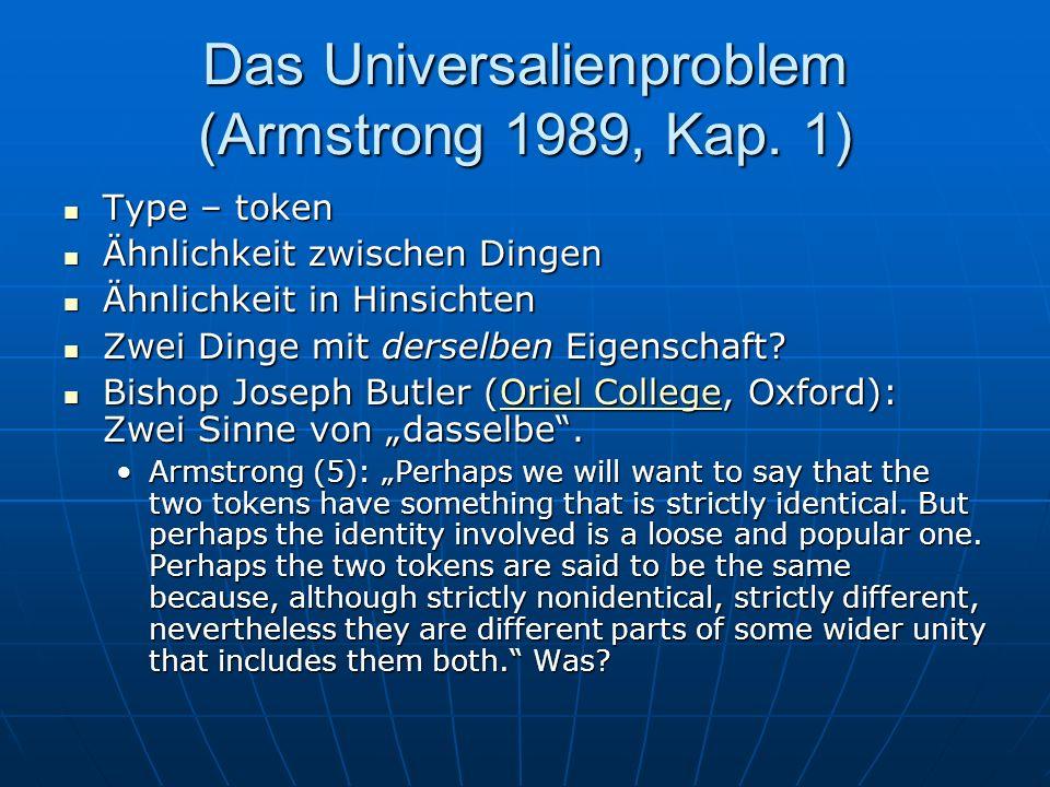 Das Universalienproblem (Armstrong 1989, Kap. 1)
