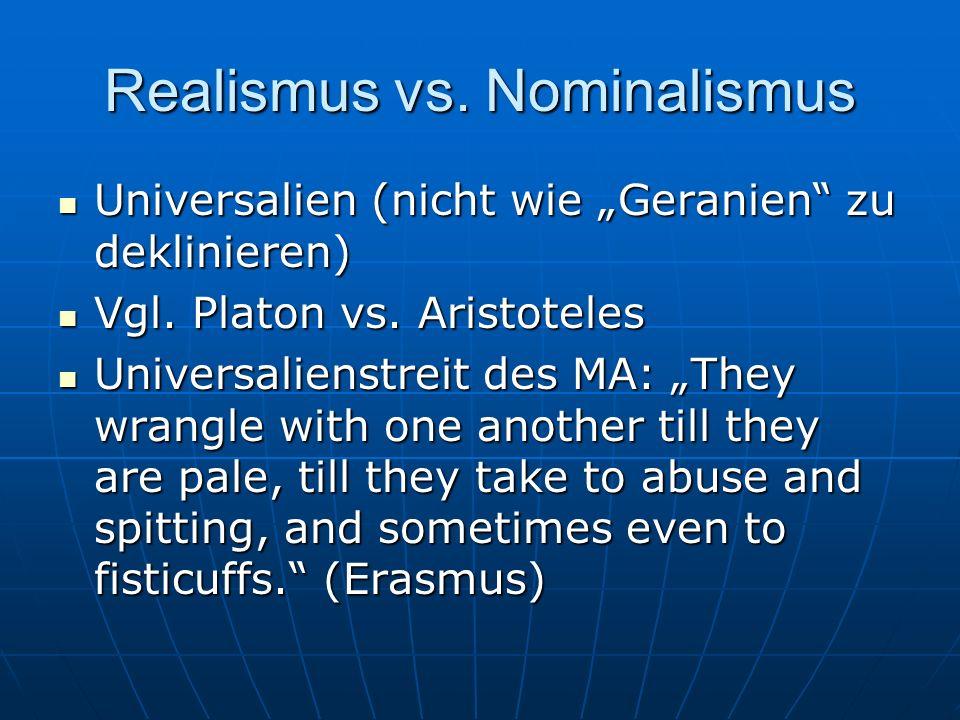 Realismus vs. Nominalismus
