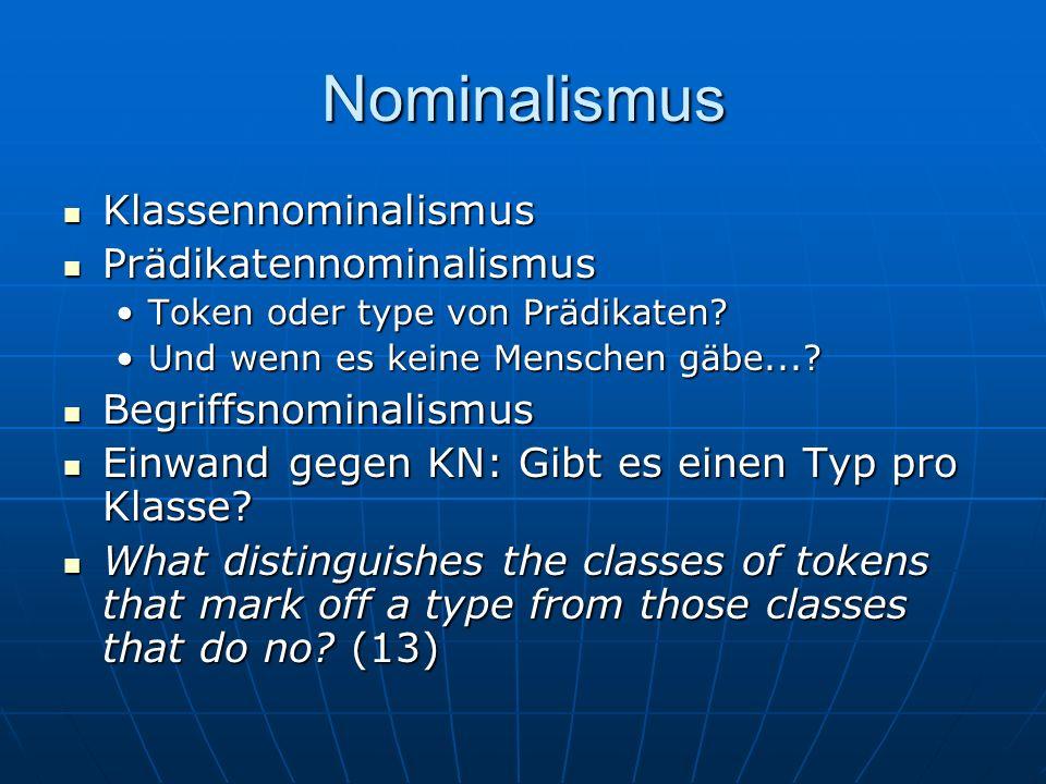 Nominalismus Klassennominalismus Prädikatennominalismus