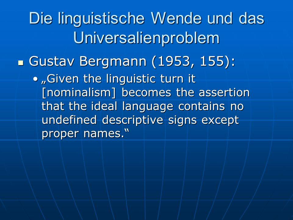 Die linguistische Wende und das Universalienproblem