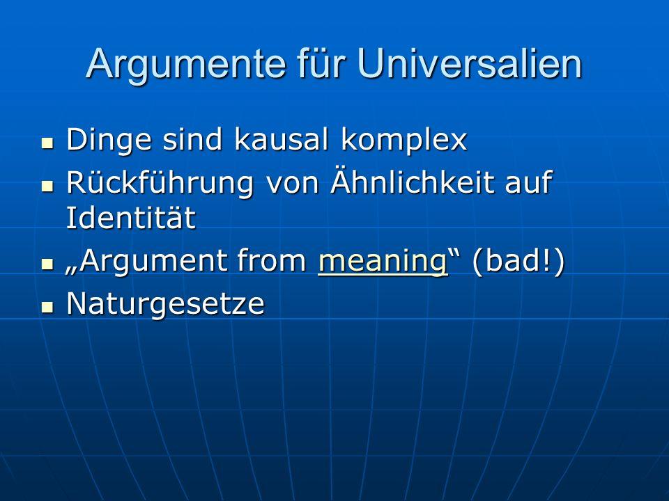 Argumente für Universalien