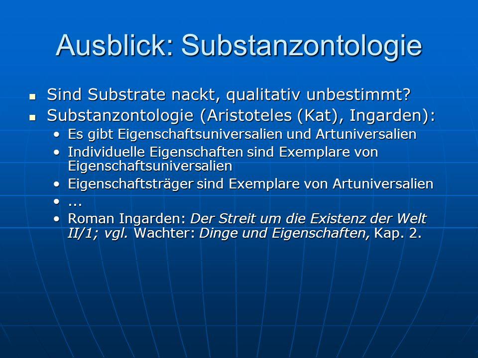 Ausblick: Substanzontologie