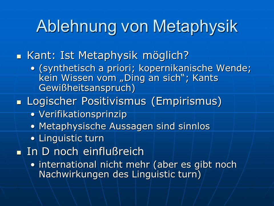 Ablehnung von Metaphysik