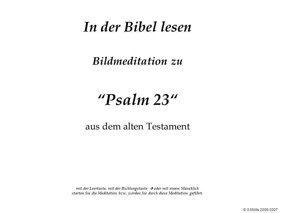 In der Bibel lesen Bildmeditation zu Psalm 23 aus dem alten Testament mit der Leertaste, mit der Richtungstaste  oder mit einem Mausklick starten Sie die Meditation bzw. werden Sie durch diese Meditation geführt.
