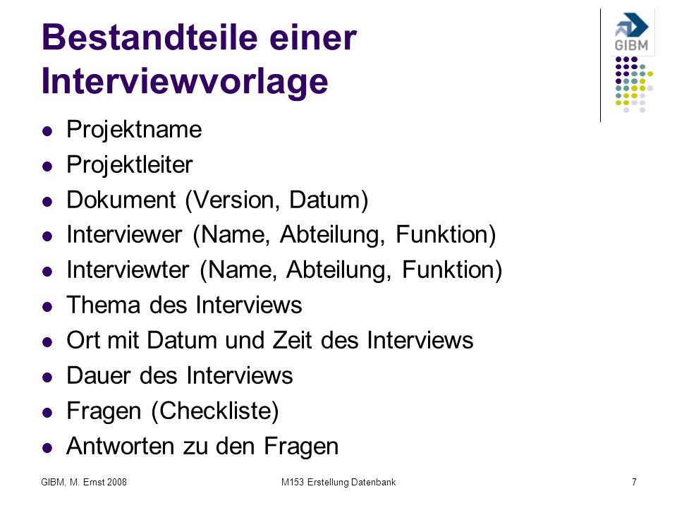 Bestandteile einer Interviewvorlage