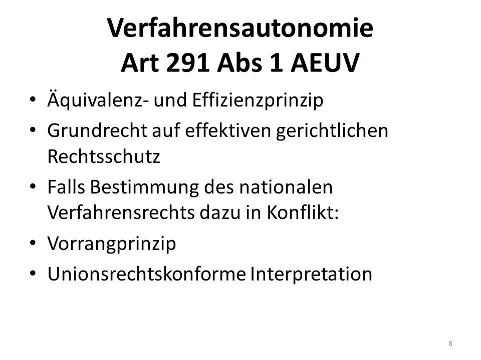 Verfahrensautonomie Art 291 Abs 1 AEUV