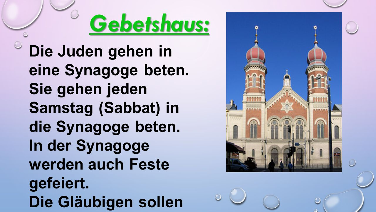 Gebetshaus: Die Juden gehen in eine Synagoge beten.