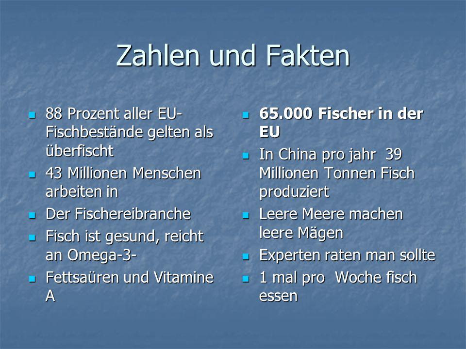 Zahlen und Fakten 88 Prozent aller EU- Fischbestände gelten als überfischt. 43 Millionen Menschen arbeiten in.
