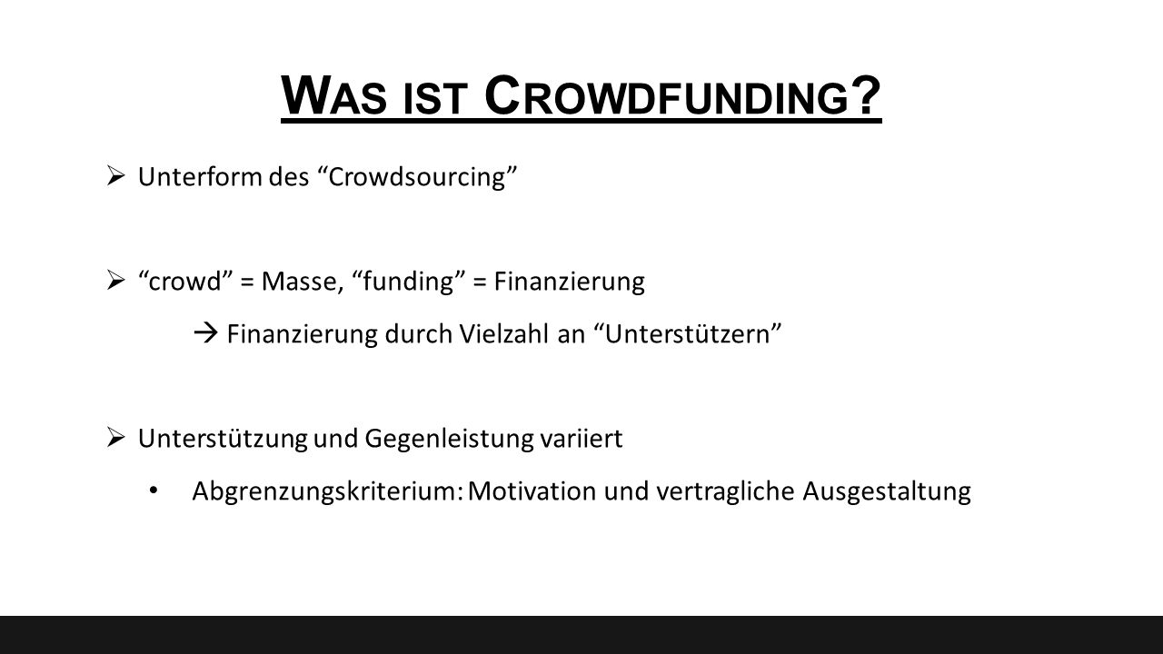Was ist Crowdfunding Unterform des Crowdsourcing