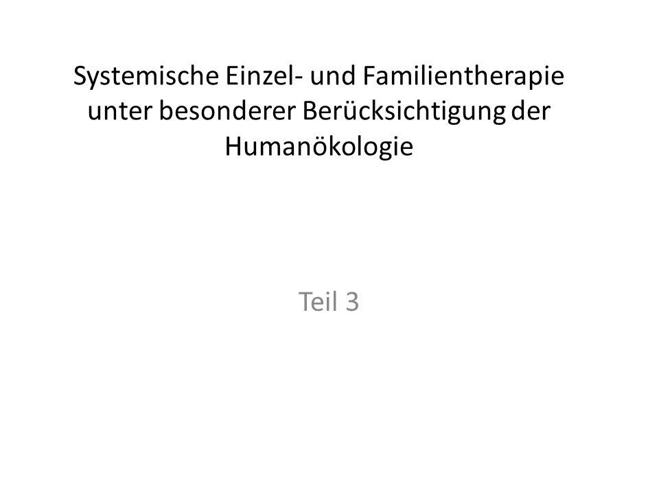 Systemische Einzel- und Familientherapie unter besonderer Berücksichtigung der Humanökologie