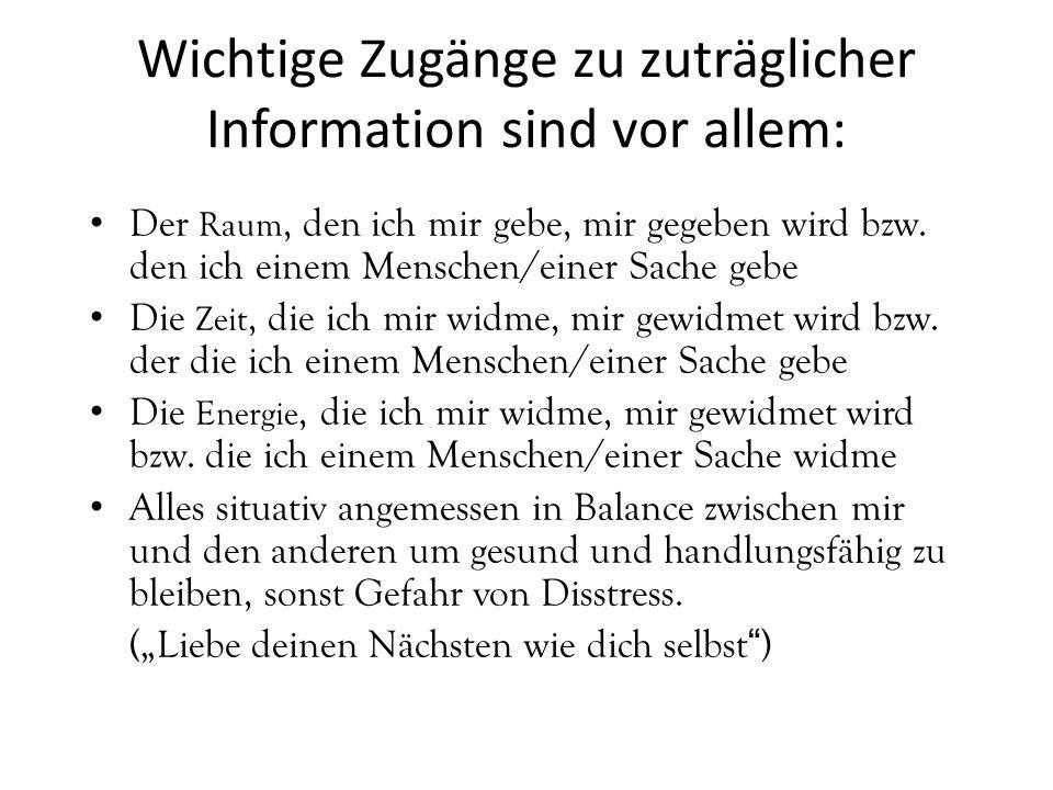 Wichtige Zugänge zu zuträglicher Information sind vor allem: