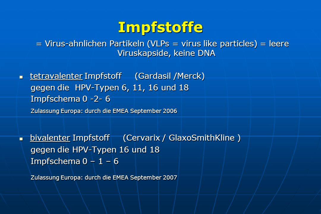 Impfstoffe = Virus-ahnlichen Partikeln (VLPs = virus like particles) = leere Viruskapside, keine DNA.